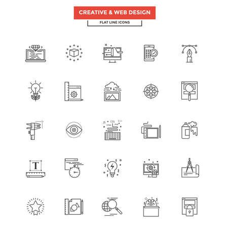icono ordenador: Conjunto de icono moderno de la línea plana, concepto de la creatividad. Vectores