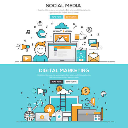 Set of Flat Line Color Banners Design Concepts for Social Media and Digital Marketing. Ilustração