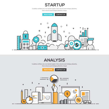 Set of Flat Line Color Banners Design Concepts for Startup and Analysis.