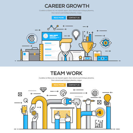 Set of Flat Line Color Banners Design Concepts for Career Growth and Team Work. Illustration