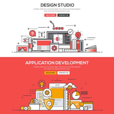 Set of Flat Line Color Banners Design Concepts for Design Studio and Application Development. Stock fotó - 53131618