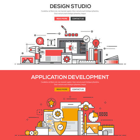 design drawing: Set of Flat Line Color Banners Design Concepts for Design Studio and Application Development.