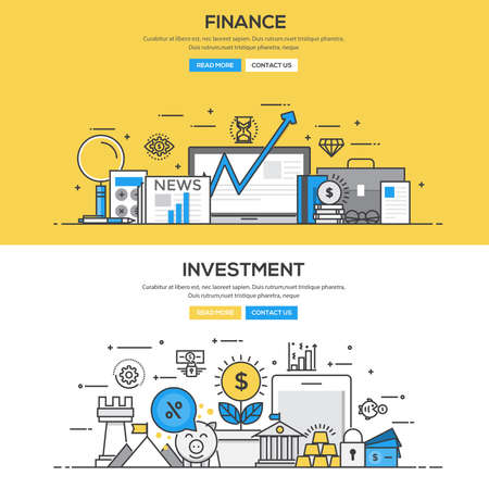 accounting design: Set of Flat Line Color Banners Design Concepts for Finance and Investment.