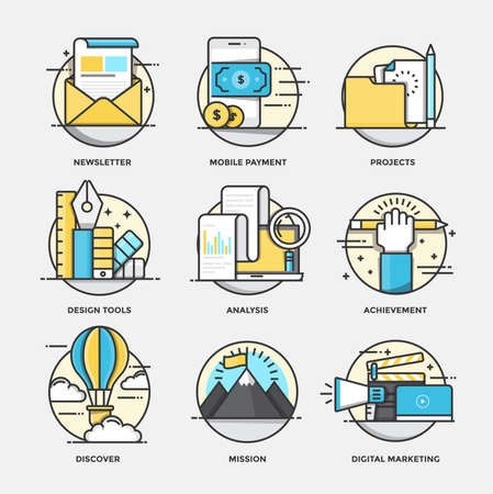mobile app: Modern flat color line designed concepts icons for Newsletter, Mobile Payment, Projects, Design tools, Analysis, Achievement, Discover, Mission and Digital marketing. Can be used for Web Project and Applications. Vector Illustration