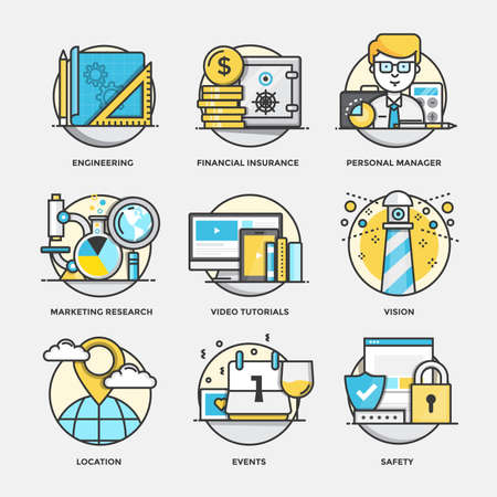 Modern flat color line designed concepts icons for Engineering, Financial Insurance, Personal Manager, Marketing Research, Video Tutorials, Vision, Location, Events and Safety. Can be used for Web Project and Applications. Vector Illustration Illustration