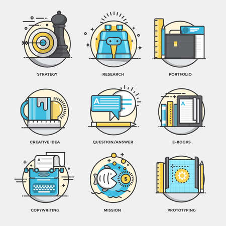 Modern flat color line designed concepts icons for Startegy, Research, Portfolio, Creative Idea, Question and Answer, Ebooks, Copywriting, Mission and Prototyping. Can be used for Web Project and Applications. Vector Illustration