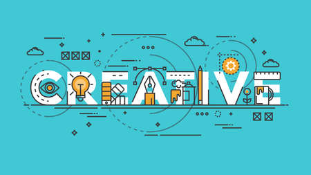 Flat Style, Thin Line Banner design of Creative, Idea, Colors, Drawing, vision, etc. Modern concept. Vector Illustartion Çizim