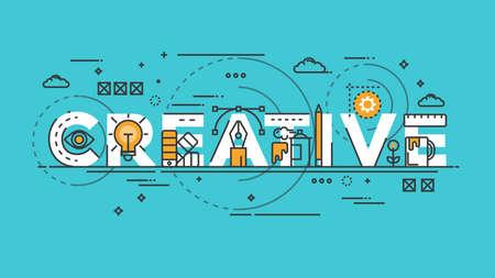 Plana del estilo, diseño Thin Line Bandera de la creativa, Idea, colores, dibujo, visión, etc. Concepto moderno. vector Illustartion