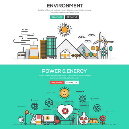 green line: Set of Flat Line Color Banners Design Concepts for Environment and Pwer and Energy. Concepts web banner and printed materials.Vector