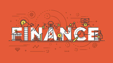 Flat Style, Thin Line Banner design of Banking, Finance, Mobile marketing, Succes, Strategy, Investment, etc. Modern concept. Vector Illustartion
