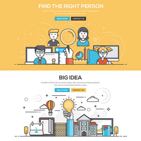 people in line: Set of Flat Line Color Banners Design Concepts for Find the Right People and Big Idea. Concepts web banner and printed materials.Vector