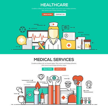 Set of Flat Line Color Banners Design Concepts for Healthcare and Medical Services. Concepts web banner and printed materials.Vector