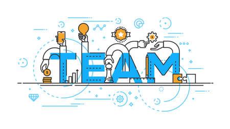 management concept: Flat Style, Thin Line Banner design of Team work, Workflow, cooperation, Success, Management, etc. Modern concept. Vector Illustartion