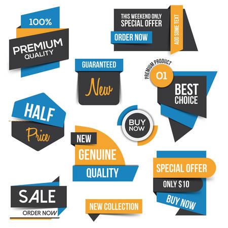 coiffer: Collection de vente discount Styled Bannières origami. Design plat. Illustration