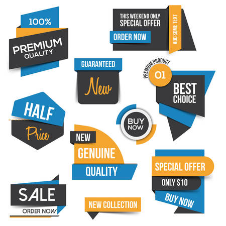 best tag: Collection of Sale Discount Styled origami Banners. Flat design.
