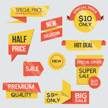 Collection of Sale Discount Styled origami Banners. Flat design.