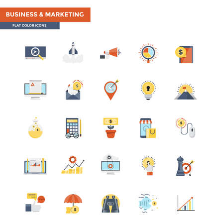 Modern flat design icons for the Business and Marketing. Icons for web and app design, easy to use and highly customizable. Vector Illustration