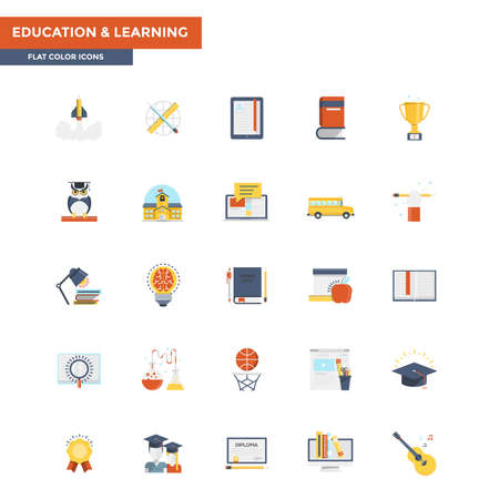 customizable: Modern flat design icons for Education and Learning. Icons for web and app design, easy to use and highly customizable.
