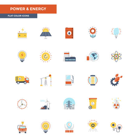 customizable: Modern flat design icons for Power and Energy. Icons for web and app design, easy to use and highly customizable. Illustration