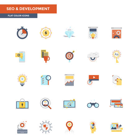 Modern flat design icons for Seo and Development. Icons for web and app design, easy to use and highly customizable.