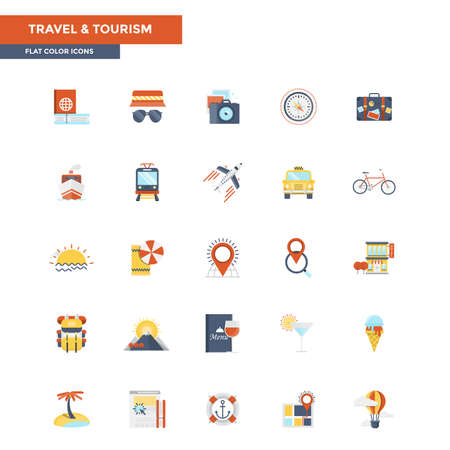 customizable: Modern flat design icons for Travel and Tourism. Icons for web and app design, easy to use and highly customizable. Illustration