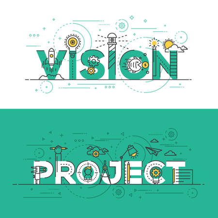 Flat Style, Thin Line Banner design of Vision and Project, Colors, Drawing, vision, etc. Modern concept. Vectores