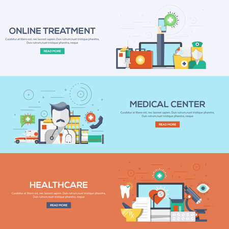 medical center: Set of flat color design web banners for Online Treatment, Medical Center and Healthcare. Concepts web banner and printed materials. Illustration
