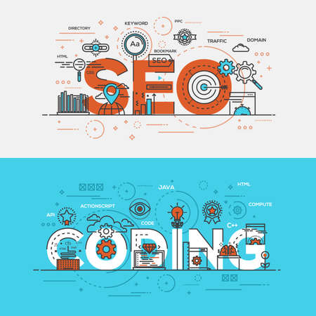 developement: Flat Style, Thin Line Banner design of Seo Optimization and Coding, Colors, Drawing, vision, etc. Modern concept. Illustration