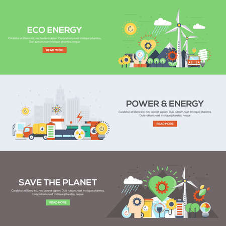 recycle tree: Set of flat color design web banners for Eco Energy, Power and Energy, and Save the Planet. Concepts web banner and printed materials.