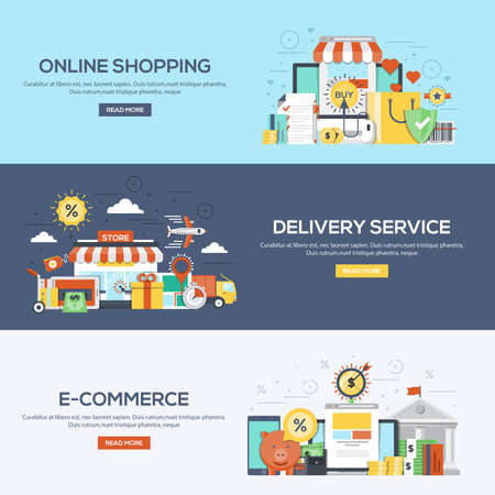 online service: Set of flat color design web banners for Online Shopping, Delivery Services and E-Commerce. Concepts web banner and printed materials. Illustration