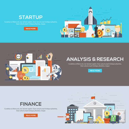 printed work: Set of flat color design web banners for Startup, Analysis and Research and Finance. Concepts web banner and printed materials. Illustration