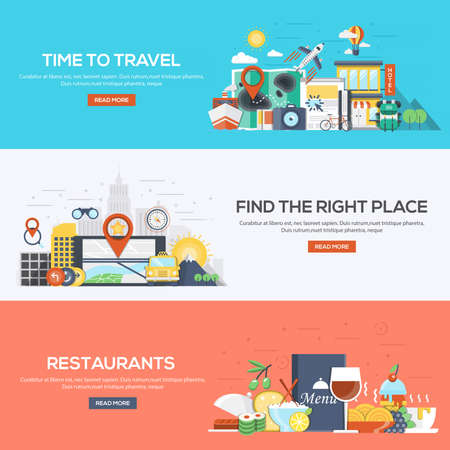 Set of flat color design web banners for Time to Travel, Find the Right Place and Restaurants. Concepts web banner and printed materials.