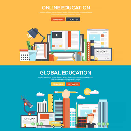learning computer: Set of Flat Color Banners Design Concepts for Online and Global Education. Concepts web banner and printed materials.