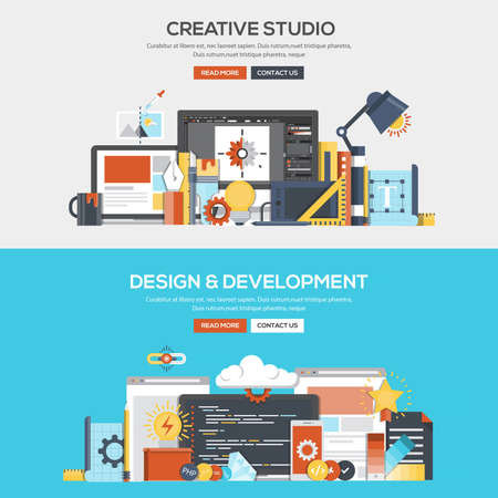 website banner: Set of Flat Color Banners Design Concepts for Creative Studio, Design and Development. Concepts web banner and printed materials.