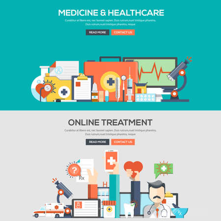 healthcare and medicine: Set of Flat Color Banners Design Concepts for Medicine and Healthcare and Online Treatment. Concepts web banner and printed materials.
