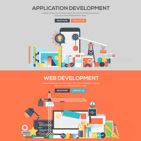 Set van platte kleur Banners ontwerpconcepten voor Application Development en Web Development. Concepten webbanner en drukwerk. Stock Illustratie