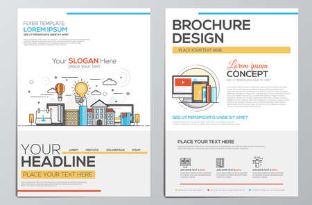 Brochure Design Template. Geometric shapes, Abstract Modern Backgrounds, Infographic Concept.Flat design. Vettoriali