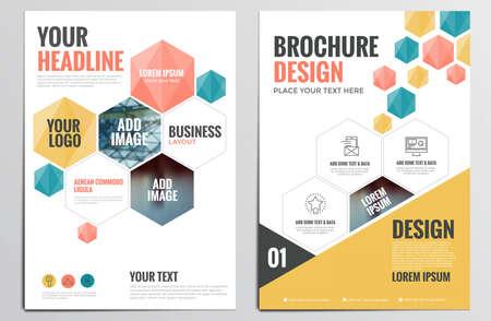 Template Design Brochure. Formes géométriques, abstraites Milieux modernes, Infographic Concept. Design plat. Vecteurs