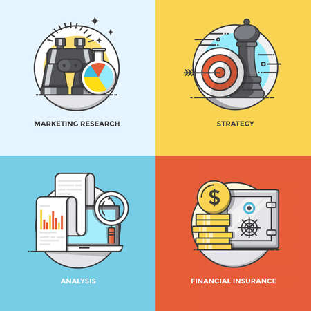 Modern flat color line designed concepts icons for Marketing Research, Strategy, Analysis and Financial Insurance. Can be used for Web Project and Applications. Illustration