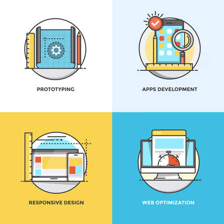 icons site search: Modern flat color line designed concepts icons for Prototyping, Apps Development, Responsive Design and Web Optimization. Can be used for Web Project and Applications. Illustration