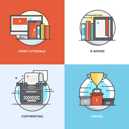Modern flat color line designed concepts icons for Video Tutorials, E-books, Copywriting and Award. Can be used for Web Project and Applications. Illustration