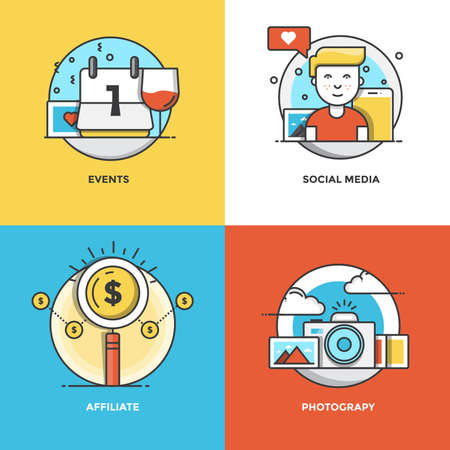 Modern flat color line designed concepts icons for Events, Social Media, Affiliate and Photograpy. Can be used for Web Project and Applications. Illustration