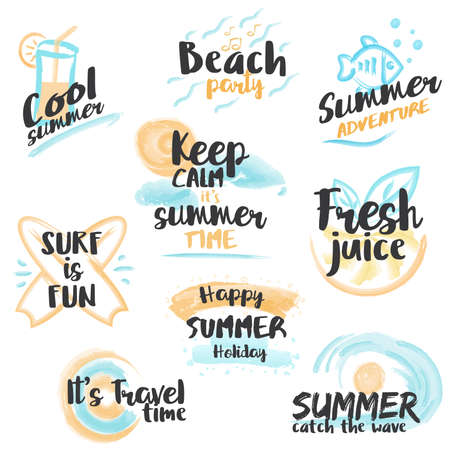 Set of hand drawn watercolor Summer Banners and Labels for summer holiday, vacation, sea, sun, party, beach and travel. Vector Illustration
