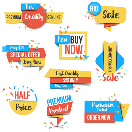 fashion shopping: Collection of Sale Discount Styled origami Banners, Labels, Tags, Emblems. Flat design. Vector