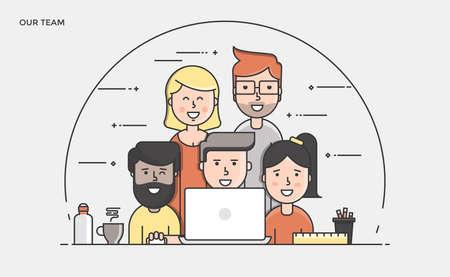 Cienka linia płaska sztandar naszego zespołu na stronie internetowej i mobilnej, łatwy w użyciu i wysoce konfigurowalny. Nowoczesne ilustracji wektorowych koncepcji, samodzielnie na białym tle.