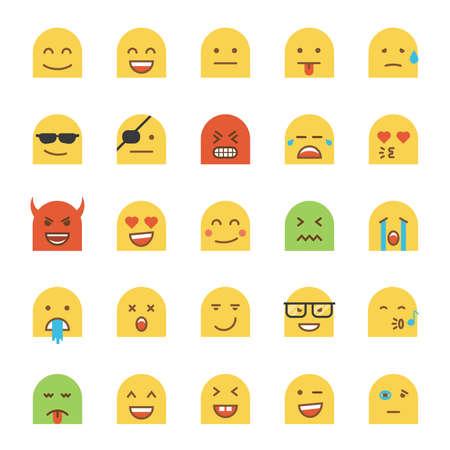Set of Flat Design Emoji isolated on white background. Illustration