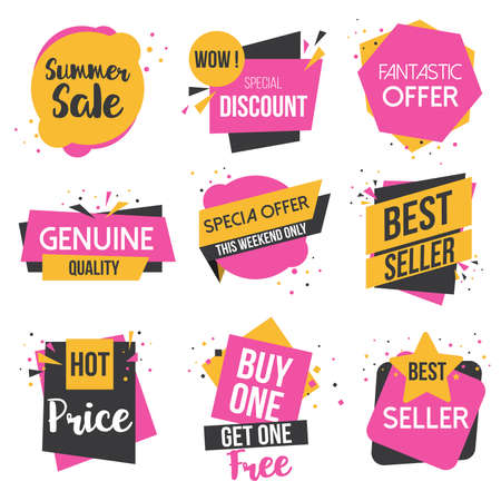 fashion shopping: Collection of Sale Discount Styled origami Banners, Labels, Tags, Emblems. Vector