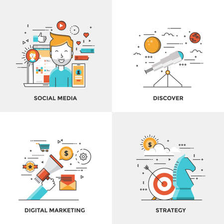 social web: Modern flat color line designed concepts icons for Social Media, Discover, Digital Marketing and Strategy. Can be used for Web Project and Mobile Platforms.