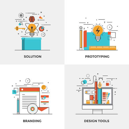Modern flat color line designed concepts icons for Solution, Prototyping, Branding and Designed tools. Can be used for Web Project and Mobile Platforms. Vector Illustration Illustration