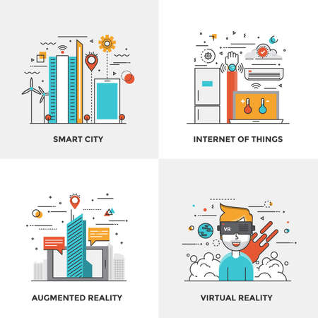 virtual assistant: Modern flat color line designed concepts icons for Smart City, Internet of Things, Augmented Reality and Virtual Reality. Can be used for Web Project and Mobile Platforms. Vector Illustration Illustration